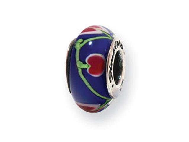 925 Silver Dark Blue Red Floral Hearts Glass Charm Bead