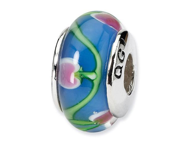 925 Silver Blue Pink Floral Hearts Glass Charm Bead