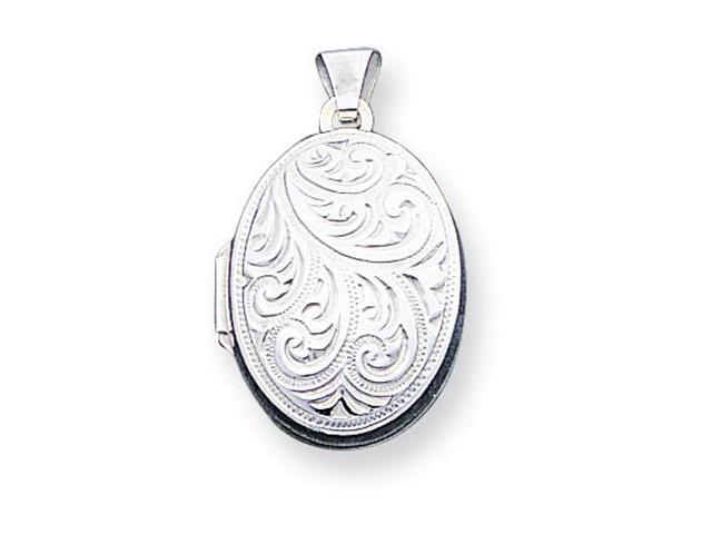 925 Sterling Silver Detailed Oval Locket Charm Pendant