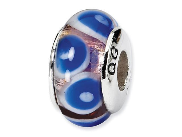 925 Silver Dark Blue White Circle Dots Charm Glass Bead