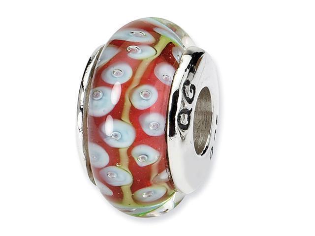 925 Silver Light Blue Pink Green Circles Glass Bead