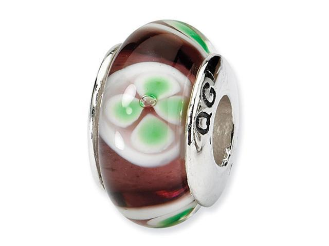 925 Silver Brown White Green Floral Glass Jewelry Bead