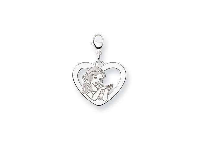 .925 Sterling Silver Princess Snow White Heart Charm