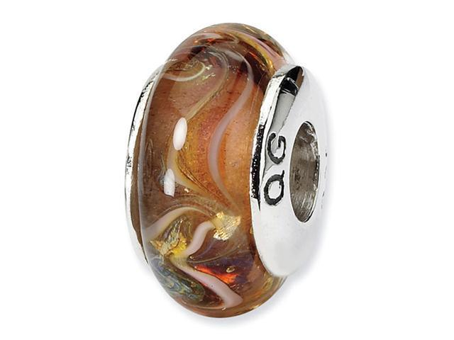 925 Sterling Silver Hand Blown Glass Brown Charm Bead