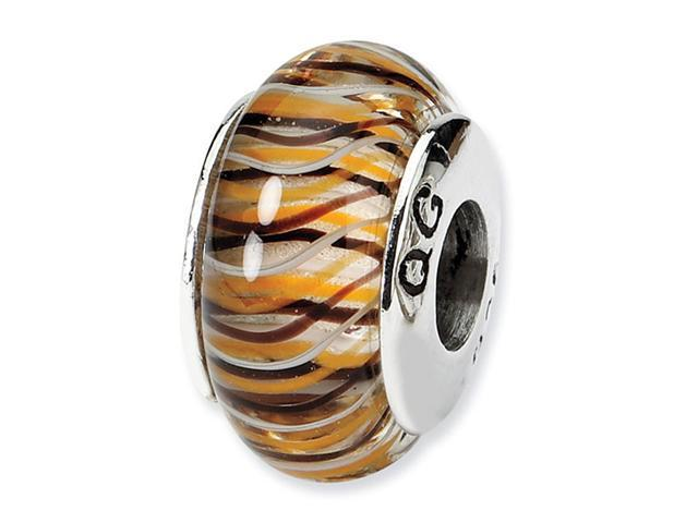 925 Silver Multicolor Brown Stripes Jewelry Glass Bead