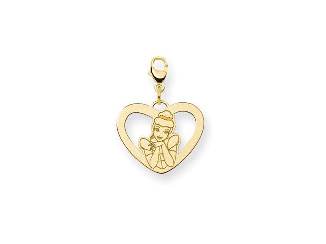 14K Gold Over Silver Princess Cinderella Heart Charm