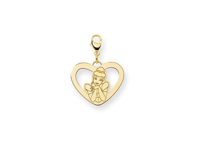 14K Gold Over Silver Princess Cinderella Heart Charm