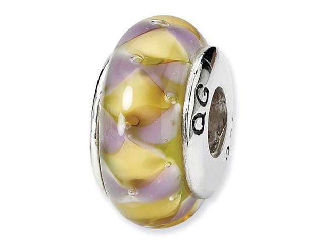 925 Silver Hand Blown Glass Purple Yellow Charm Bead