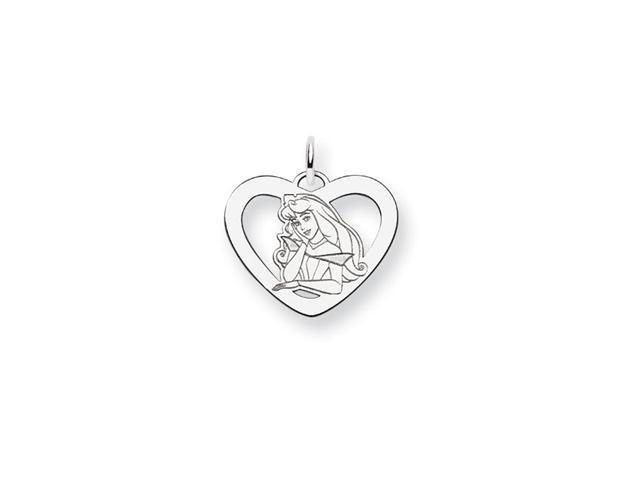 Sterling Silver 3/4 Inch Princess Aurora Heart Charm