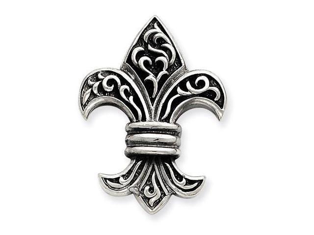 925 Silver Antiqued Detailed Fleur de lis Charm Pendant