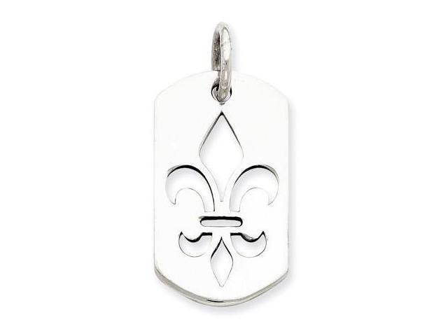 925 Sterling Silver Cutout Fleur de lis Charm Pendant