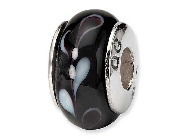 925 Silver Hand Blown Glass Black Charm Jewelry Bead