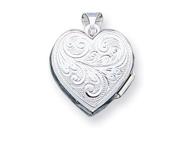 925 Sterling Silver Scroll Detail Heart Locket Pendant