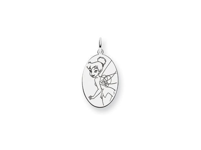 .925 Sterling Silver Disney Tinkerbell Solid Oval Charm