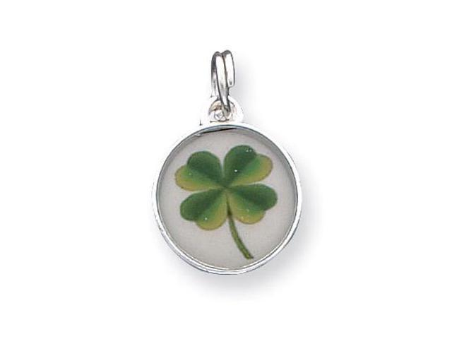 925 Silver Green Yellow Four Leaf Clover Shamrock Charm