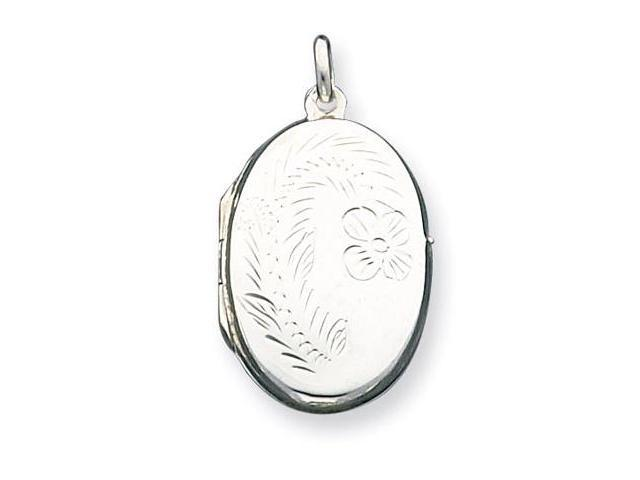 925 Sterling Silver Floral Oval Locket Charm Pendant