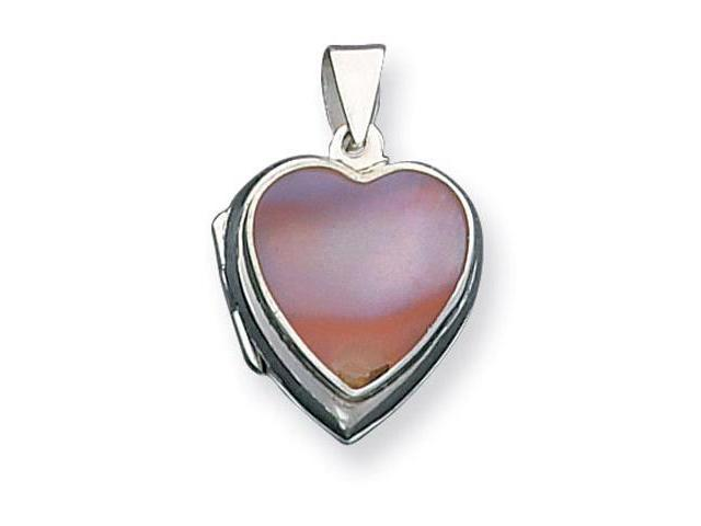 925 Sterling Silver Solid Mother of Pearl Heart Locket