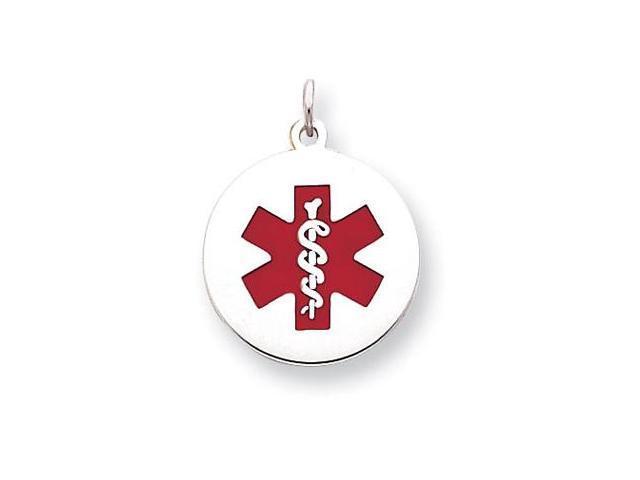 925 Sterling Silver Round Medical Alert Symbol Pendant