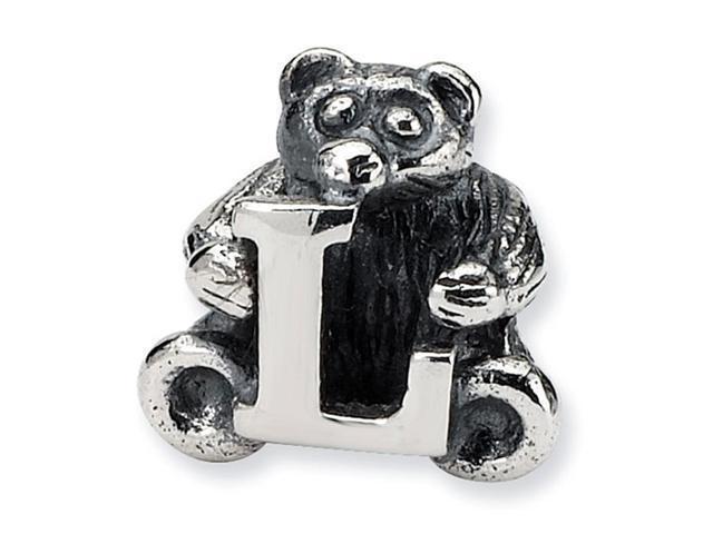 925 Sterling Silver Kids Bear Letter L Alphabet Bead