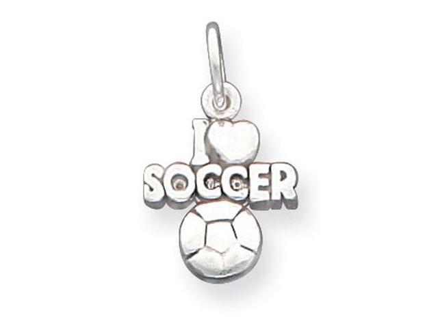 925 Sterling Silver I Love Heart Soccer Charm Pendant