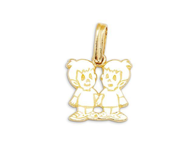 New 14k Yellow Gold Twin Boys Child Charm Pendant