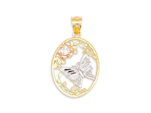 14k Yellow White Rose Gold CZ Butterfly Flower Pendant