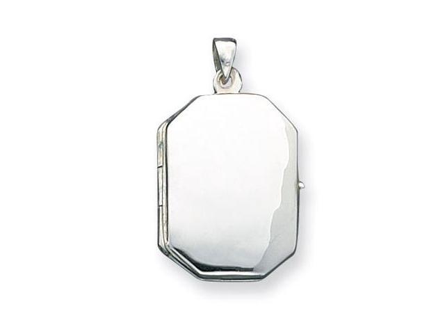 925 Sterling Silver Polished Octagon Locket Pendant