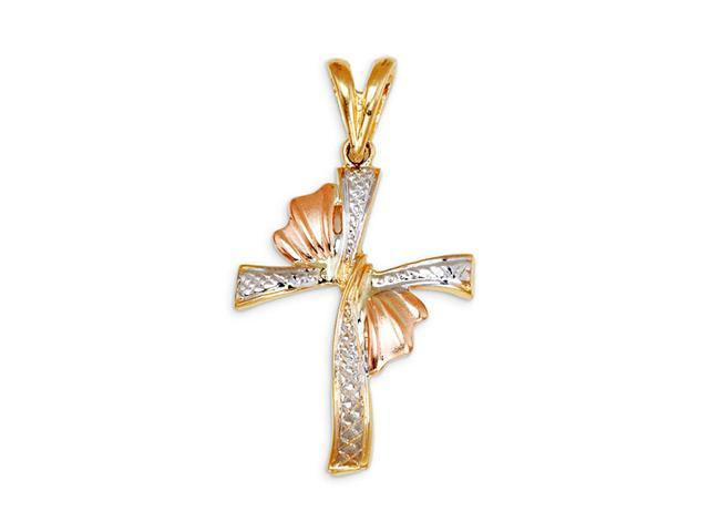 New 14k Yellow White Rose Gold Religious Cross Pendant