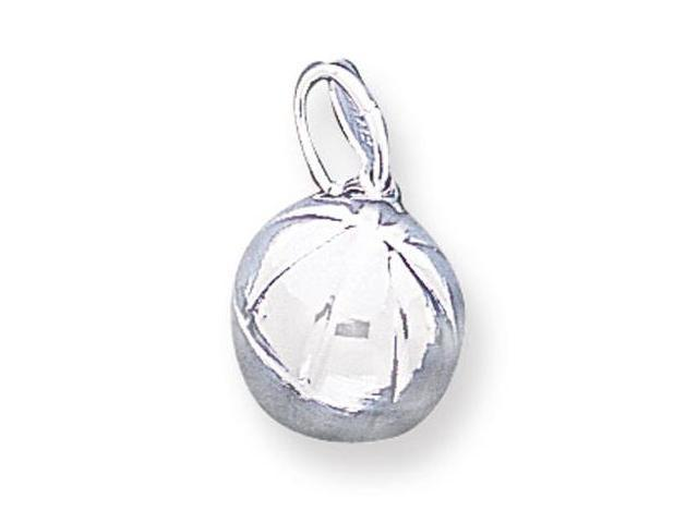 925 Sterling Silver Sports Solid Basketball Ball Charm