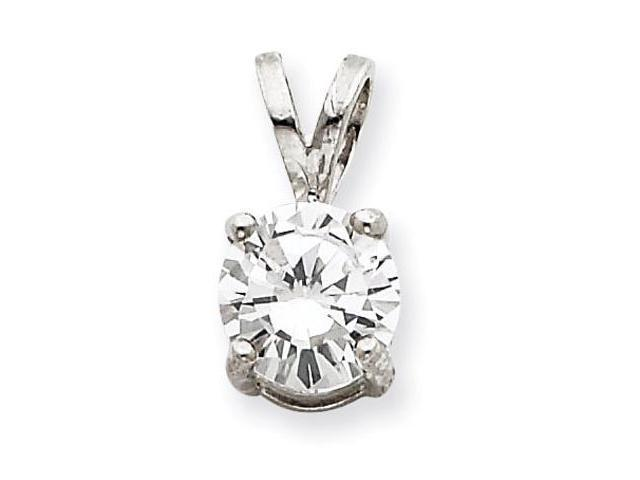 925 Sterling Silver White CZ Round Solid Slide Pendant