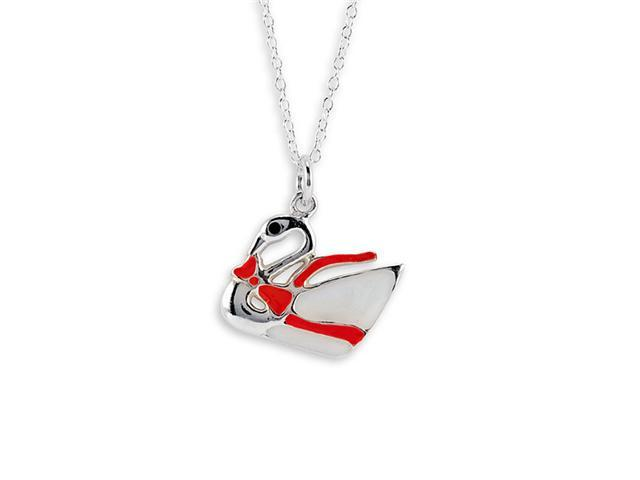 New .925 Sterling Silver Red Swan Pendant Necklace