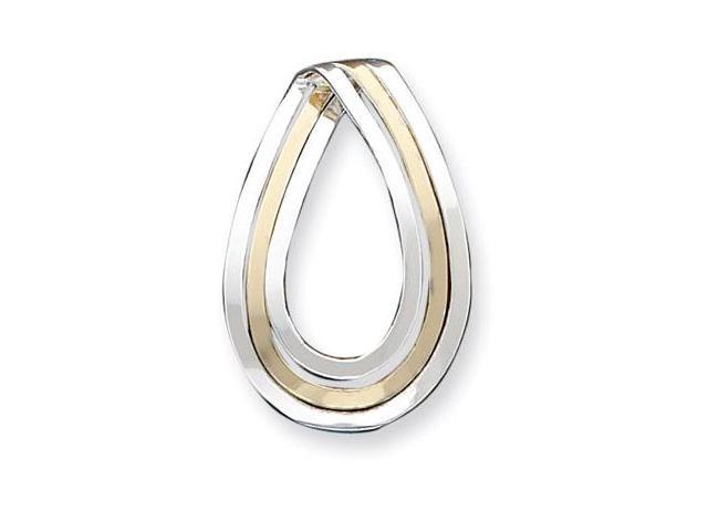 925 Sterling Silver Gold Tone Teardrop Slide Pendant
