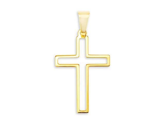 14k Bonded Gold Simple Cut Out Religious Cross Pendant