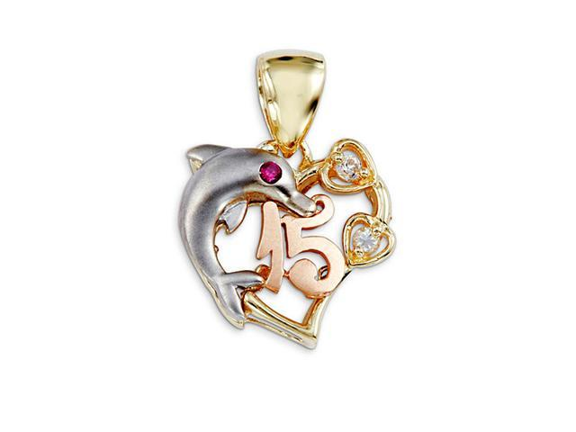 14k White Yellow Rose Gold CZ Dolphin 15 Heart Pendant