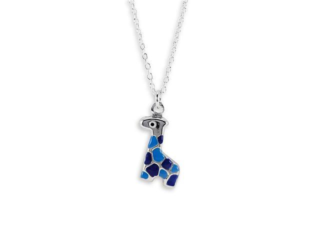 New .925 Sterling Silver Blue Giraffe Pendant Necklace