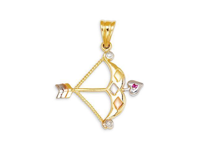 Heart Arrow Red CZ 14k Yellow White Rose Gold Pendant