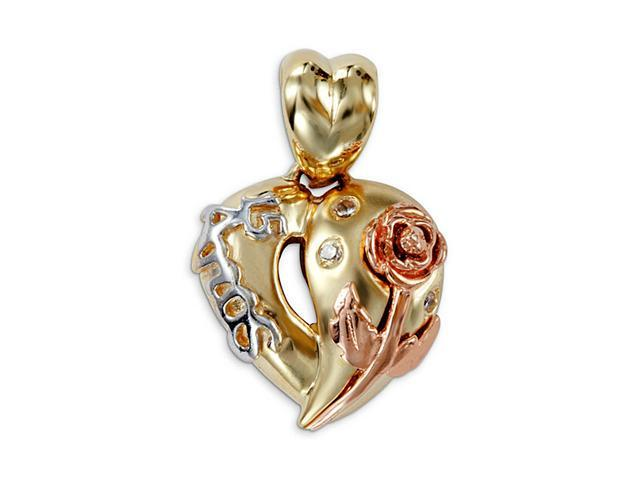 New 15 Anos 14k Yellow White Rose Gold Heart CZ Pendant
