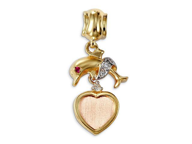 14k White Yellow Rose Gold CZ Heart Dolphin Pendant
