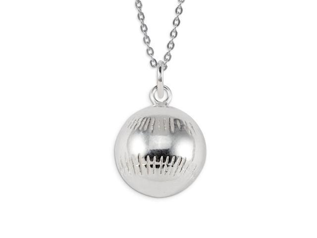 .925 Sterling Silver Sports Baseball Pendant Charm