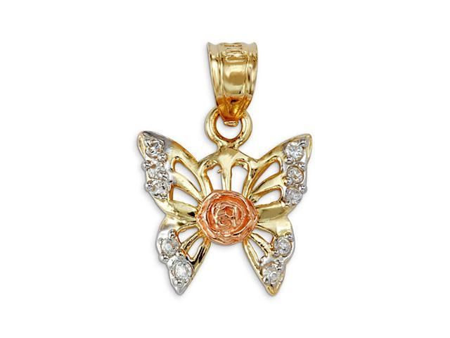 14k Yellow White Rose Gold Butterfly CZ Flower Pendant