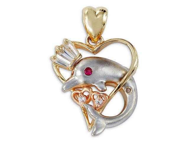 14k Tricolor Gold Heart Dolphin Crown CZ Charm Pendant