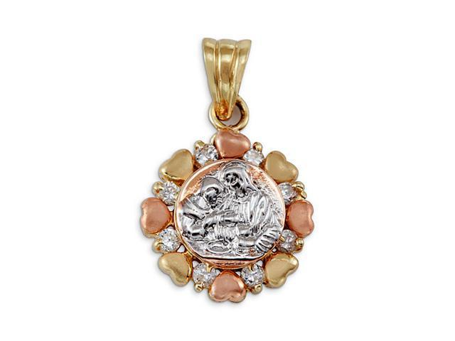 New 14k Yellow White Rose Gold Baptism CZ Heart Pendant