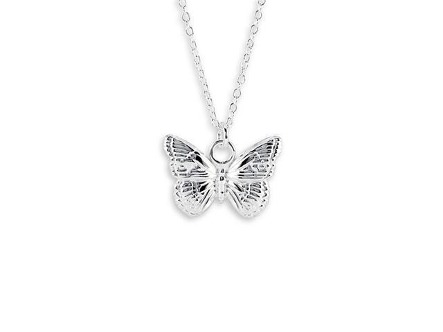 New Sterling Silver Butterfly Pendant Charm Necklace
