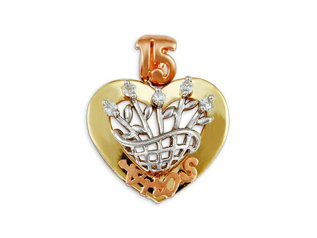 New 15 Anos 14k Yellow White Rose Gold CZ Heart Pendant