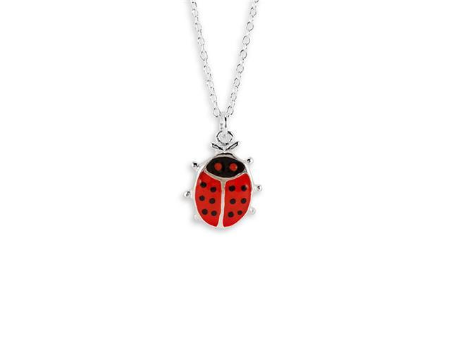 Red Black Enamel 925 Silver Lady Bug Pendant Necklace