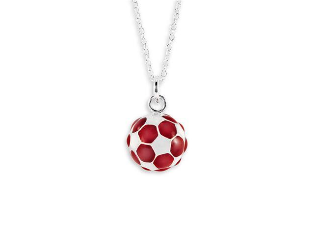New Red White 925 Sterling Silver Soccer Ball Necklace
