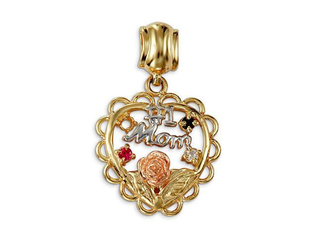 #1 Mom 14k White Yellow Rose Gold Multicolor CZ Pendant