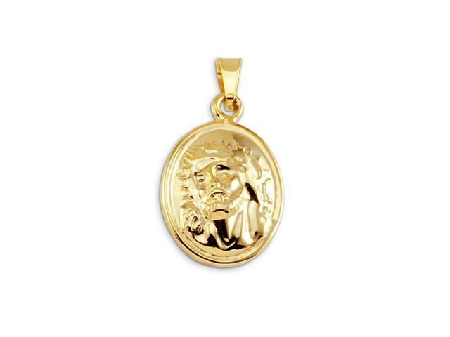 14k Bonded Gold Jesus Crown Of Thorns Religious Pendant