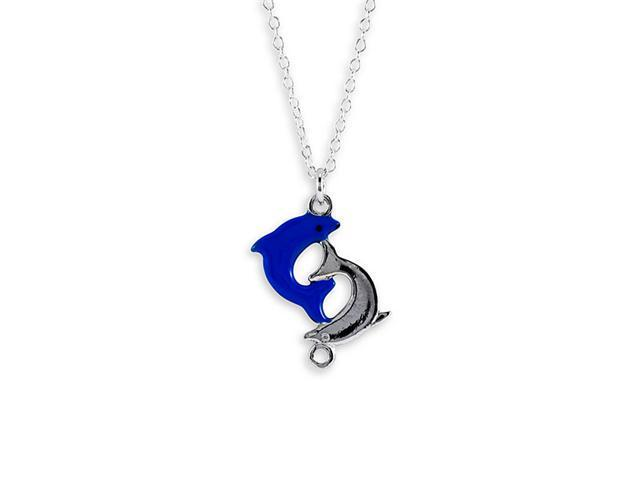 Sterling Silver Blue Enamel Dolphins Pendant Necklace
