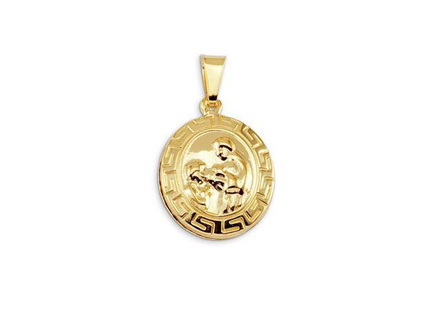 14k Bonded Gold Religious Christian Greek Key Pendant
